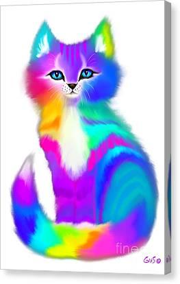 Canvas Print - Fluffy Rainbow Kitten by Nick Gustafson