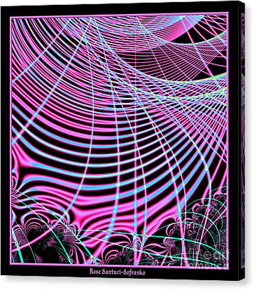 Fluorescent Neon Web Fractal 45 Canvas Print by Rose Santuci-Sofranko