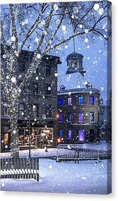 Canvas Print featuring the photograph Flurries In Quebec City by Arkady Kunysz