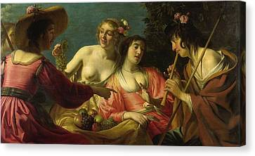 Flute Playing Shepherd And Four Nymphs Canvas Print