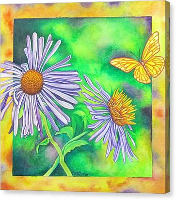 Flutters And Flowers Canvas Print by Cynthia Stewart