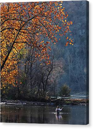 Fly Fisherwoman Canvas Print by Denise Romano