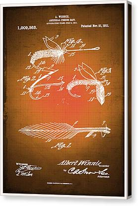Technical Canvas Print - Fly Fishing Bait Patent Blueprint Drawing Sepia by Tony Rubino
