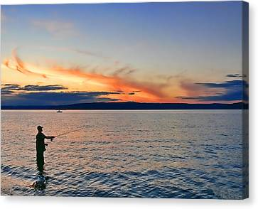 Fly Fishing  Fisherman On Puget Sound Washington Canvas Print by Jennie Marie Schell