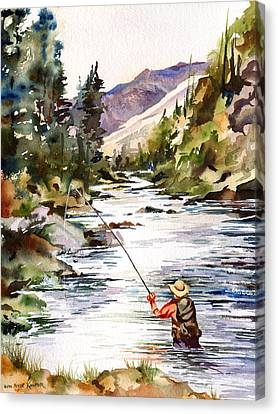 Fly Fishing In The Mountains Canvas Print by Beth Kantor