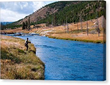 Canvas Print featuring the photograph Fly Fishing In Yellowstone  by Lars Lentz