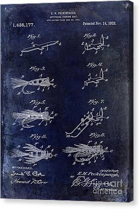 1922 Fly Fishing Lure Blue Canvas Print