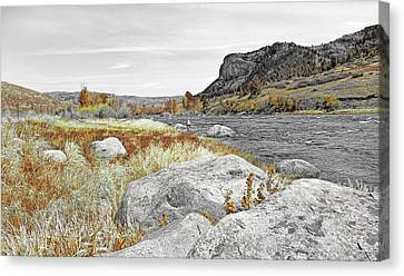 Fly Fishing Stillwater River Montana Selective Color Canvas Print by Jennie Marie Schell
