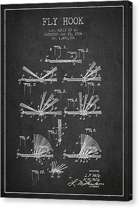 Reel Canvas Print - Fly Hook Patent From 1924 - Charcoal by Aged Pixel