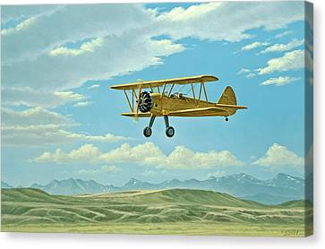 Sky Scape Canvas Print - Fly-in At Three Forks - Stearman   by Paul Krapf