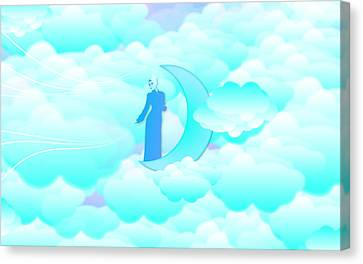 Fly In The Sky Canvas Print by Islamic Cards