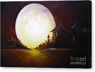 Bob Ross Canvas Print - Fly Me To The Moon by David Kacey