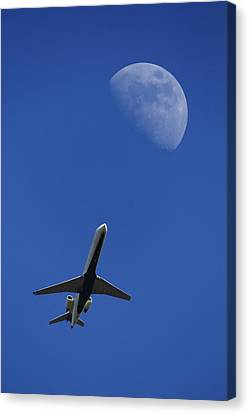 Passenger Plane Canvas Print - Fly Me To The Moon by Mike McGlothlen