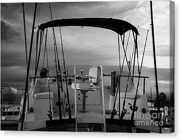 Flybridge On A Charter Fishing Boat In Early Morning Light Key West Florida Usa Canvas Print by Joe Fox