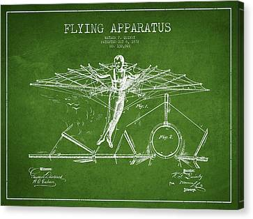 Flying Apparatus Patent Drawing From 1872- Green Canvas Print