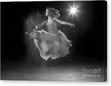 Flying Ballerina In Black And White Canvas Print by Cindy Singleton