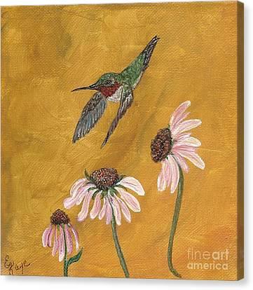 Male Hummingbird Canvas Print - Flying By by Ella Kaye Dickey