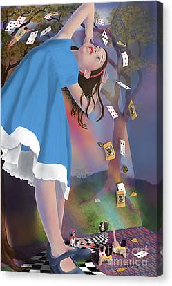 Flying Cards Dissolve Alice's Dream Canvas Print by Audra D Lemke