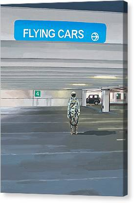 Canvas Print featuring the painting Flying Cars To The Right by Scott Listfield