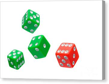 Flying Craps Dice  Canvas Print by Olivier Le Queinec