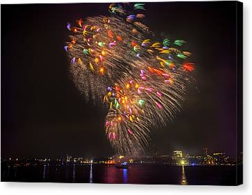 Flying Feathers Of Boston Fireworks Canvas Print by Sylvia J Zarco