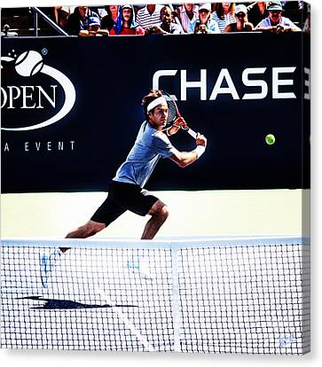 Australian Open Canvas Print - Flying Federer  by Nishanth Gopinathan