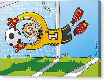 Flying Goalkeeper Catching Ball Canvas Print by Frank Ramspott