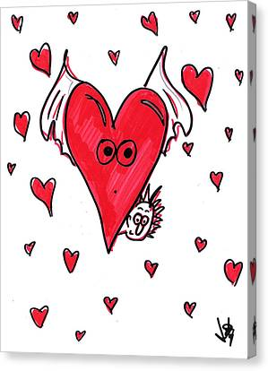 Toon Canvas Print - Flying Heart Hider by Jera Sky