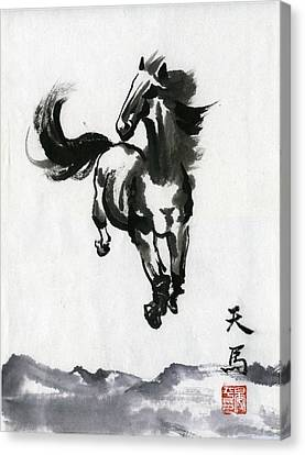 Canvas Print featuring the painting Flying Horse by Ping Yan