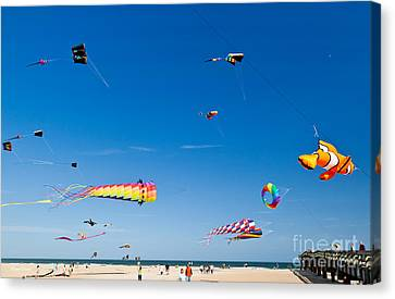 Flying Kites At St Augustine Beach Pier Canvas Print by Michelle Wiarda