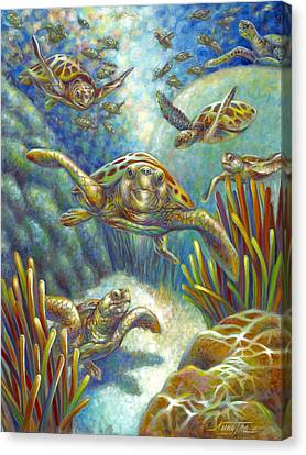 Canvas Print featuring the painting Flying Loggerhead Turtles by Nancy Tilles