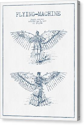 Flying Machine Patent Drawing From 1889- Blue Ink Canvas Print