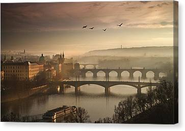 Flying Over Prague Canvas Print by Charlie Photographer