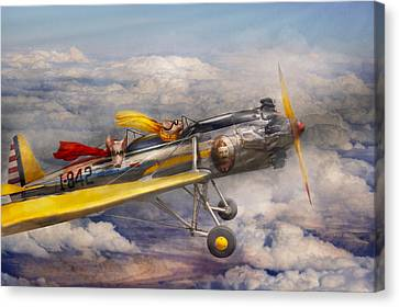 Vintage Air Planes Canvas Print - Flying Pig - Plane - The Joy Ride by Mike Savad