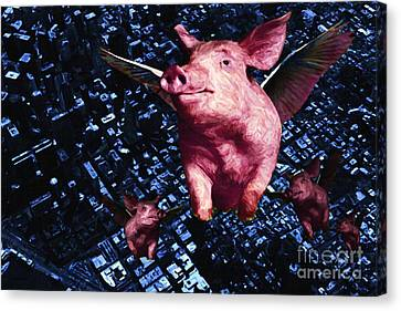 Flying Pigs Over San Francisco Canvas Print