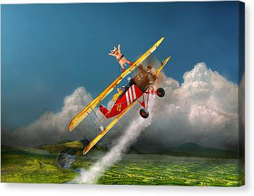 Flying Pigs - Plane - Hog Wild Canvas Print by Mike Savad