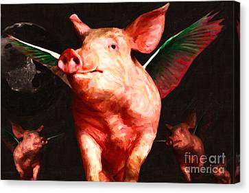 Flying Pigs V2 Canvas Print