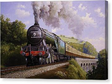 Flying Scotsman On Broadsands Viaduct. Canvas Print