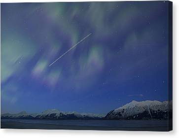 Flying Through The Northern Lights Canvas Print