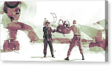 Flying Wing Battle Canvas Print by Kurt Ramschissel