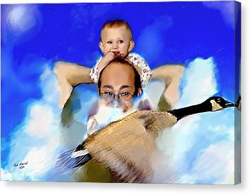 Canvas Print featuring the painting Flying With Canada Geese by Ted Azriel