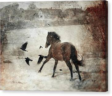 Flying With The Crows Canvas Print by Dorota Kudyba