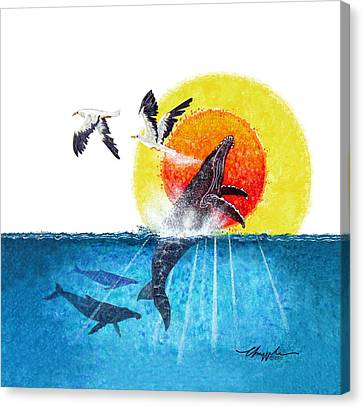 Flying With Whales Canvas Print by David  Chapple