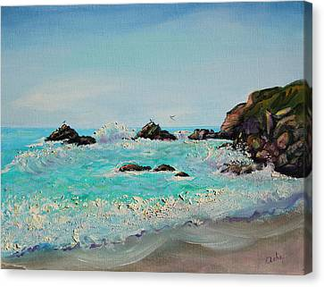 Canvas Print featuring the painting Foamy Ocean Waves And Sandy Shore by Asha Carolyn Young