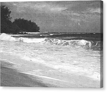 Foamy Surf Pencil Rendering Canvas Print