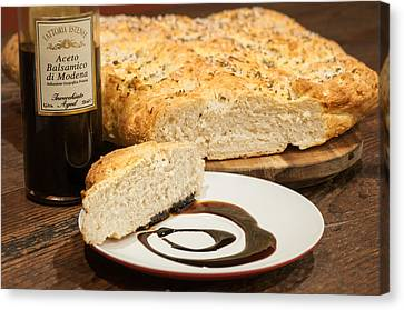 Focaccia Bread With Balsamic Vinegar Canvas Print by Andy Crawford
