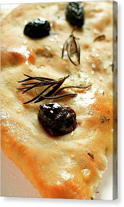 Focaccia With Olives And Rosemary (close-up) Canvas Print