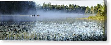 Fog At Lake One Canvas Print by Larry Ricker