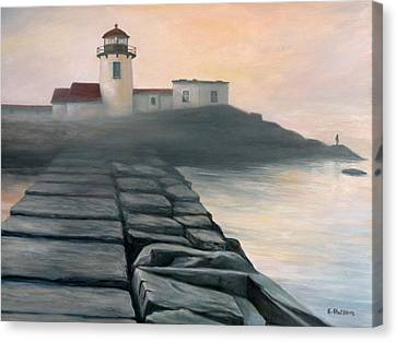 Fog Burning Off Canvas Print by Eileen Patten Oliver