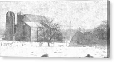Fog Down On The Farm Canvas Print by Rosemarie E Seppala